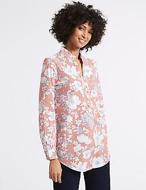 Pure Cotton Floral Print Longline Blouse, RED MIX, catlanding