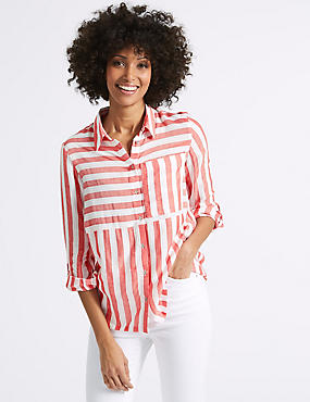 Modal Blend Striped 3/4 Sleeve Shirt, RED MIX, catlanding