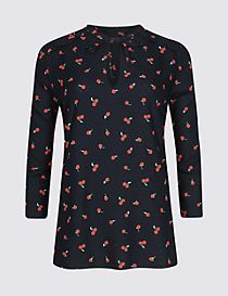 Cherry Print Notch Neck ¾ Sleeve Blouse