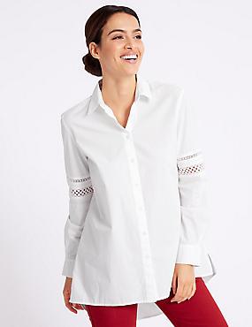 Poplin Long Sleeve Shirt, SOFT WHITE, catlanding