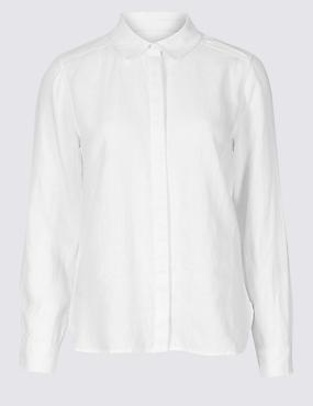 PETITE Pure Linen Long Sleeve Shirt , WHITE, catlanding