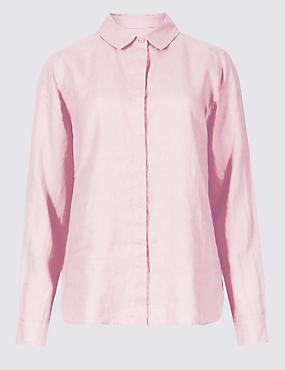 Pure Linen Long Sleeve Shirt, LIGHT PINK, catlanding