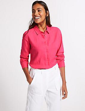 Pure Linen Long Sleeve Shirt, , catlanding