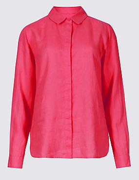 Pure Linen Long Sleeve Shirt, BRIGHT PINK, catlanding