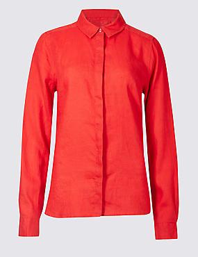 Pure Linen Long Sleeve Shirt, RED, catlanding