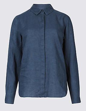 Pure Linen Long Sleeve Shirt, NAVY MIX, catlanding