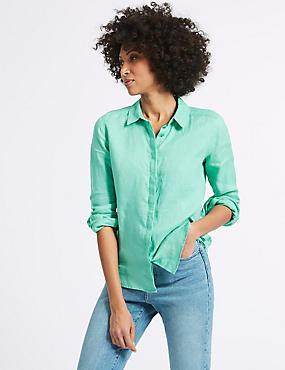 Pure Linen Long Sleeve Shirt, MEDIUM AQUA, catlanding
