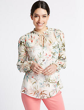 Floral Print Tie Neck Long Sleeve Blouse, IVORY MIX, catlanding