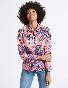 Linen Rich Palm Print Long Sleeve Shirt