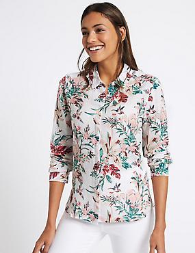 Linen Rich Floral Print Shirt, IVORY MIX, catlanding