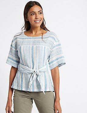 Pure Linen Striped Tie Front Blouse, BLUE MIX, catlanding