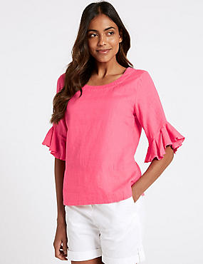 Pure Linen Ruffle Sleeve Blouse, BRIGHT PINK, catlanding