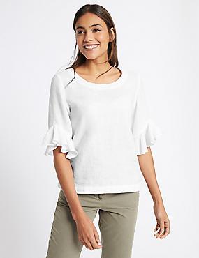 Pure Linen Ruffle Sleeve Blouse, WHITE, catlanding