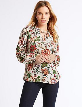 PETITE Floral print Long Sleeve Blouse, IVORY MIX, catlanding