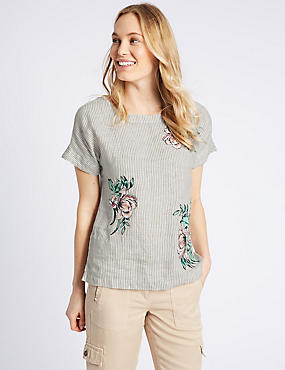 Pure Linen Stripe Embroidered Blouse