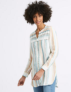 Pure Linen Loose Fit Striped Long Line Shirt, MULTI/NEUTRAL, catlanding