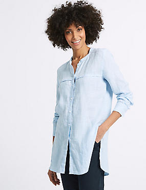 Pure Linen Loose Fit Striped Long Line Shirt, BLUE MIX, catlanding