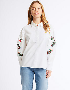 PETITE Pure Cotton Floral Embroidered Shirt