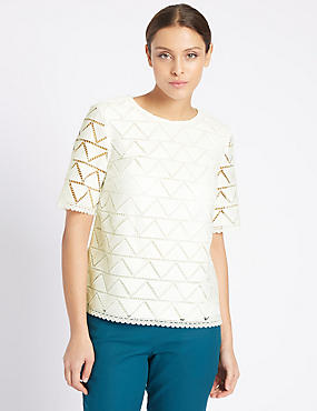 Lace Round Neck Half Sleeve Shell Top