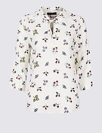 Floral Print Notch Neck ¾ Sleeve Blouse