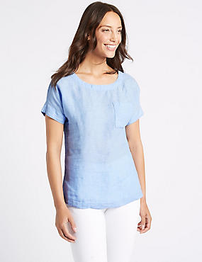 Pure Linen Round Neck Short Sleeve Blouse , CHAMBRAY, catlanding