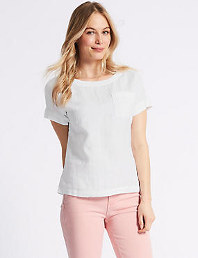 Pure Linen Round Neck Short Sleeve Blouse