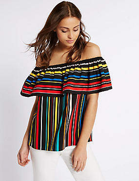 Striped Short Sleeve Bardot Top