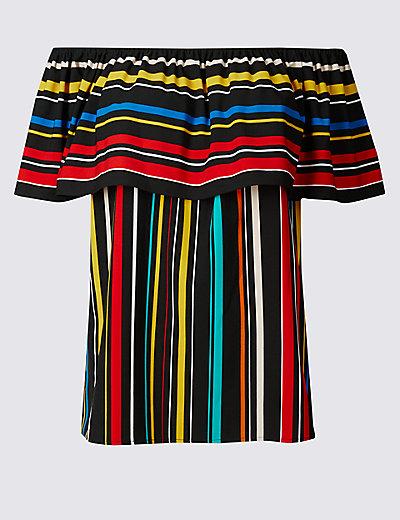 striped short sleeve bardot top mamps