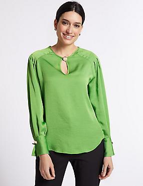 Notch Neck Long Sleeve Blouse, BRIGHT GREEN, catlanding