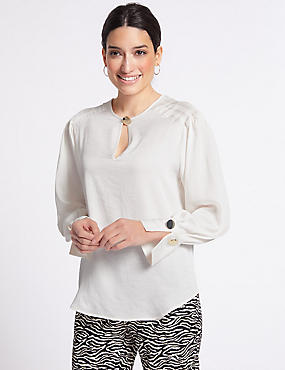 Notch Neck Long Sleeve Blouse, IVORY, catlanding