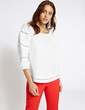Pure Cotton Embroidered 3/4 Sleeve Blouse