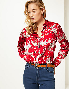 Floral Print Satin Long Sleeve Shirt , RED MIX, catlanding