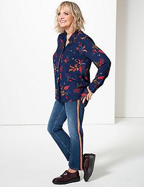 Paisley Print Long Sleeve Shirt , DARK BLUE MIX, catlanding