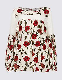 Lace Floral Print Pleated Blouse