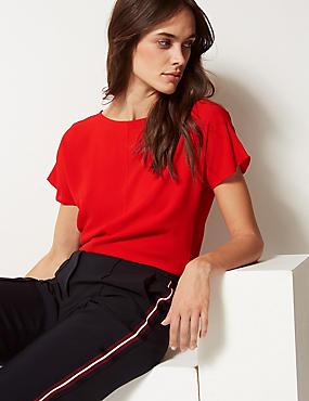 Round Neck Short Sleeve Shell Top, RED, catlanding