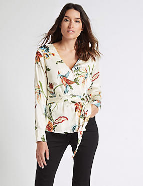 Printed Satin V-Neck Long Sleeve Blouse