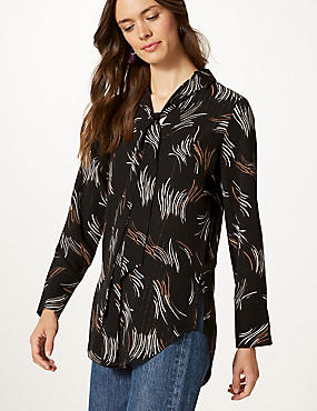 Printed V-Neck Long Sleeve Blouse , BLACK MIX, catlanding