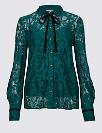 Cotton Blend Lace Long Sleeve Shirt