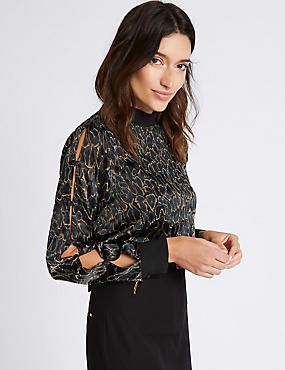 Leopard Devore Button Sleeve Blouse