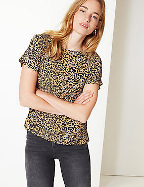 Animal Print Short Sleeve Shell Top, YELLOW MIX, catlanding