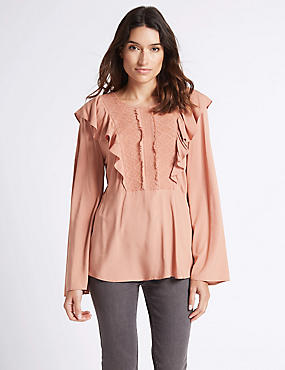 Ruffle Round Neck Long Sleeve Blouse