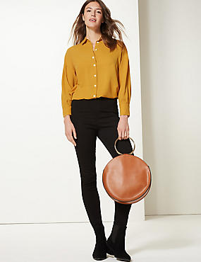 Oversized Long Sleeve Shirt, OCHRE, catlanding