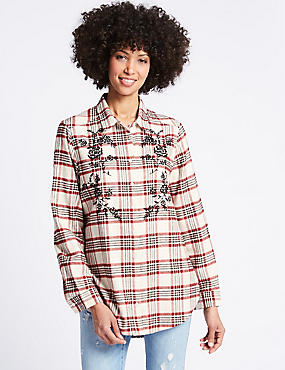 Pure Cotton Check Embroidered Shirt, RED MIX, catlanding
