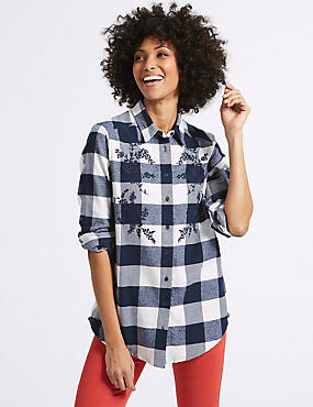 Pure Cotton Check Embroidered Shirt, NAVY MIX, catlanding