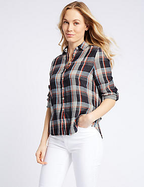Cotton Blend Checked Long Sleeve Shirt , NAVY MIX, catlanding