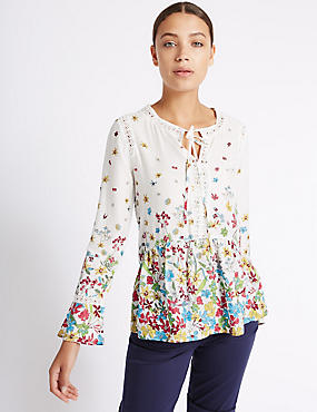 Floral Print Lace Detail Long Sleeve Blouse