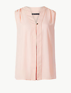 V-Neck Shell Top, BLUSH, catlanding