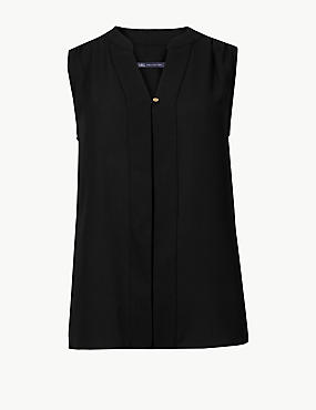V-Neck Shell Top, BLACK, catlanding
