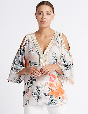 Floral Print Cold Shoulder V-Neck Tunic