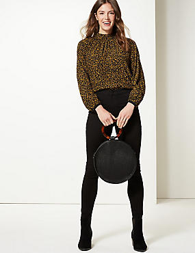 Animal Print High Neck Blouse, BLACK MIX, catlanding